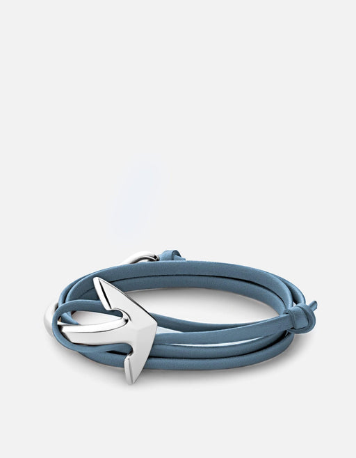 Anchor Half-Cuff on Leather, Silver Plated | Men's Bracelets | Miansai