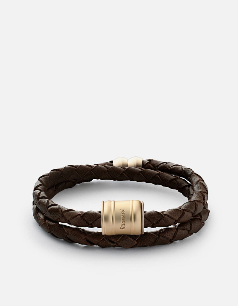 Leather Casing Bracelet, Matte Gold | Men's Bracelets | Miansai