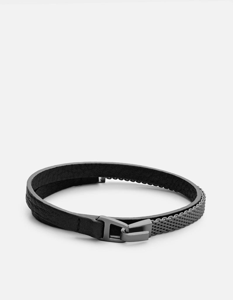 Miansai - Moore Half Mesh Leather, Matte Black Rhodium