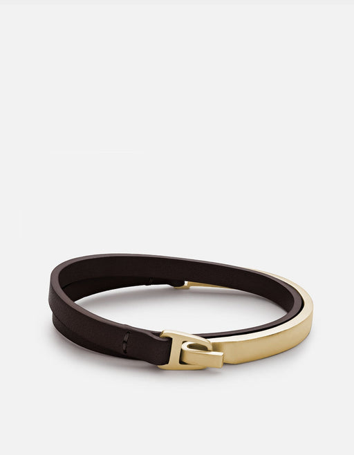 Moore Half Cuff Leather, Matte Gold | Men's Bracelets | Miansai