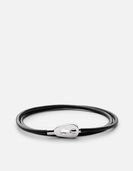 Miansai - Centra Leather Wrap Bracelet, Sterling Silver