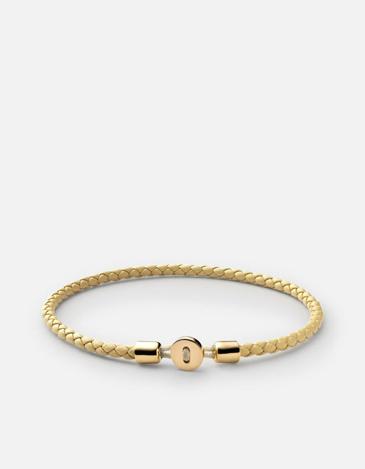 Nexus Leather Bracelet, Gold Vermeil