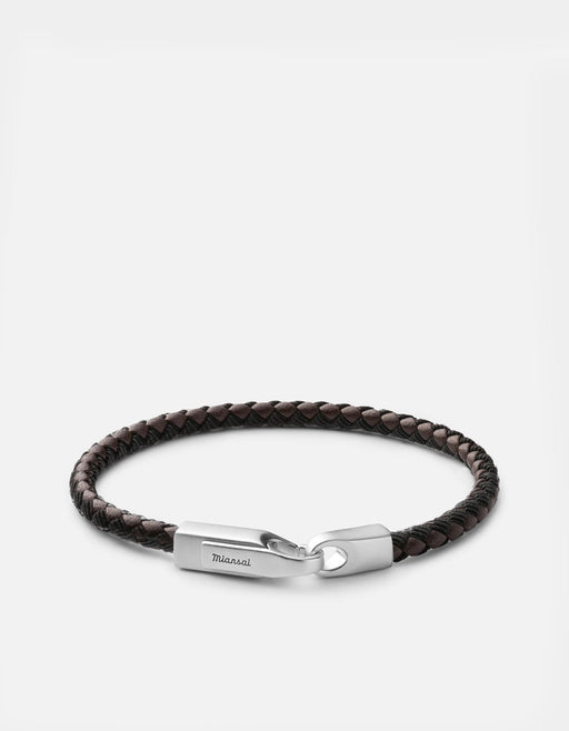 Miansai - Crew Leather Ribbon Bracelet, Matte Silver