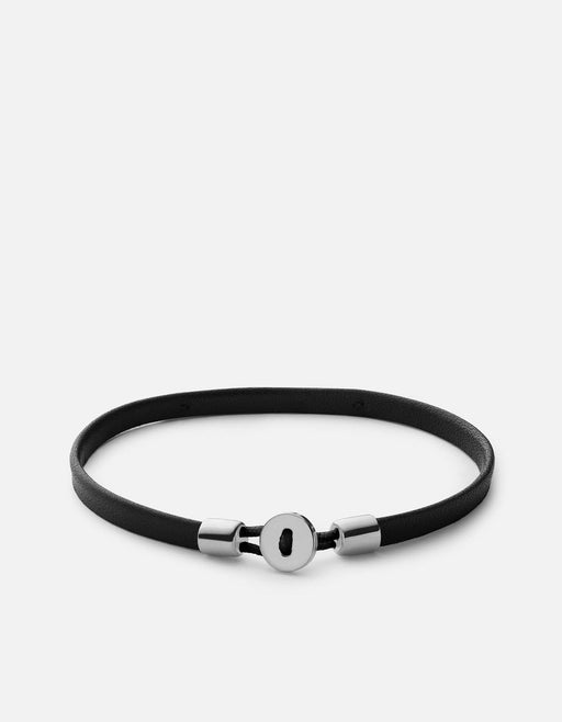 Nexus ID Leather Bracelet, Matte Silver