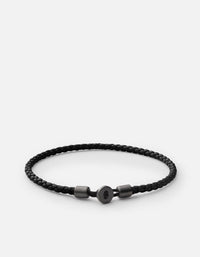 Miansai - Nexus Leather Bracelet, Matte Black Rhodium