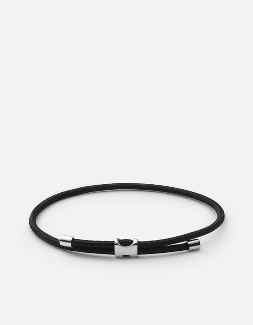 Orson Pull Bungee Rope Bracelet, Sterling Silver, Black- Miansai