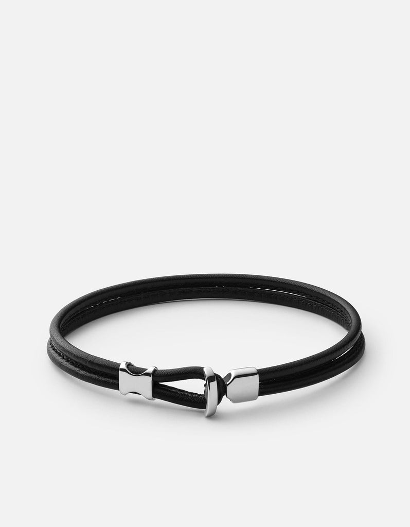 Orson Loop Leather Bracelet, Sterling Silver, Black-Miansai
