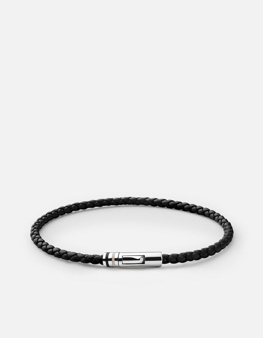 Juno Leather Bracelet, Sterling Silver, Black- Miansai