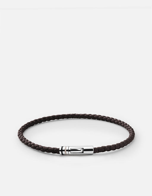 Juno Leather Bracelet, Sterling Silver, Brown- Miansai