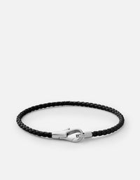 Knox Leather Bracelet, Sterling Silver, Black- Miansai