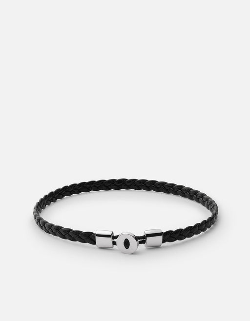 Nexus Braided Leather Bracelet, Sterling Silver, Black - Miansai