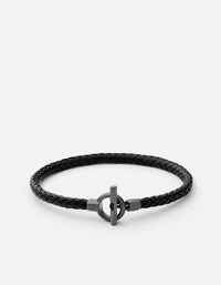 Atlas Leather Bracelet, Sterling Silver, Matte Black Rhodium, Black - Miansai