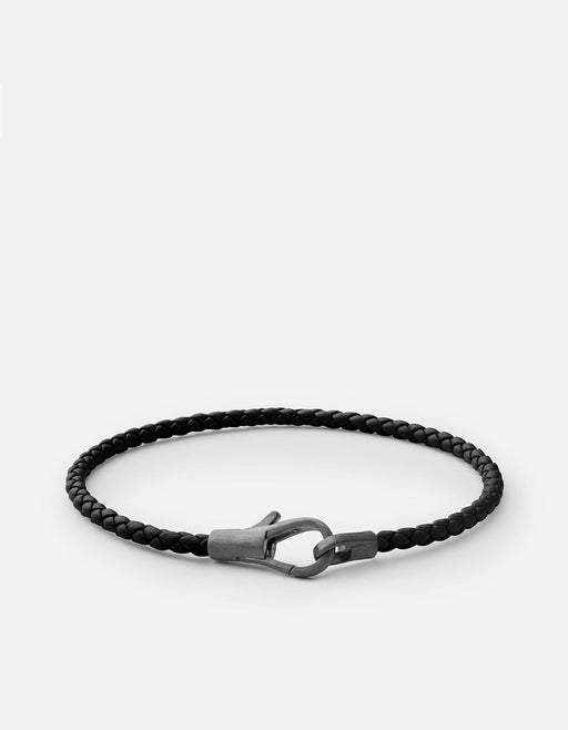 Knox Leather Bracelet, Matte Black Rhodium, Black - Miansai