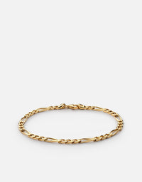 3mm Figaro Chain Bracelet, Gold Vermeil - Miansai