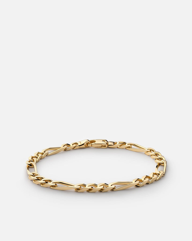5mm Figaro Chain Bracelet, Gold Vermeil - Miansai