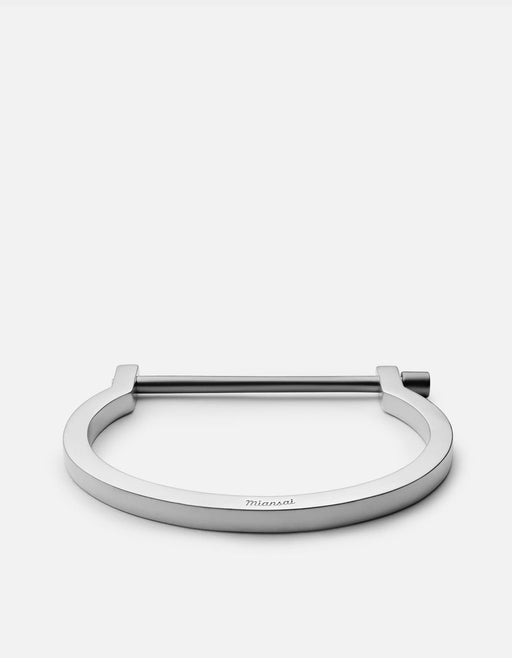 Miansai - Modern Screw Cuff, Matte Sterling Silver, Black Rhodium Bar