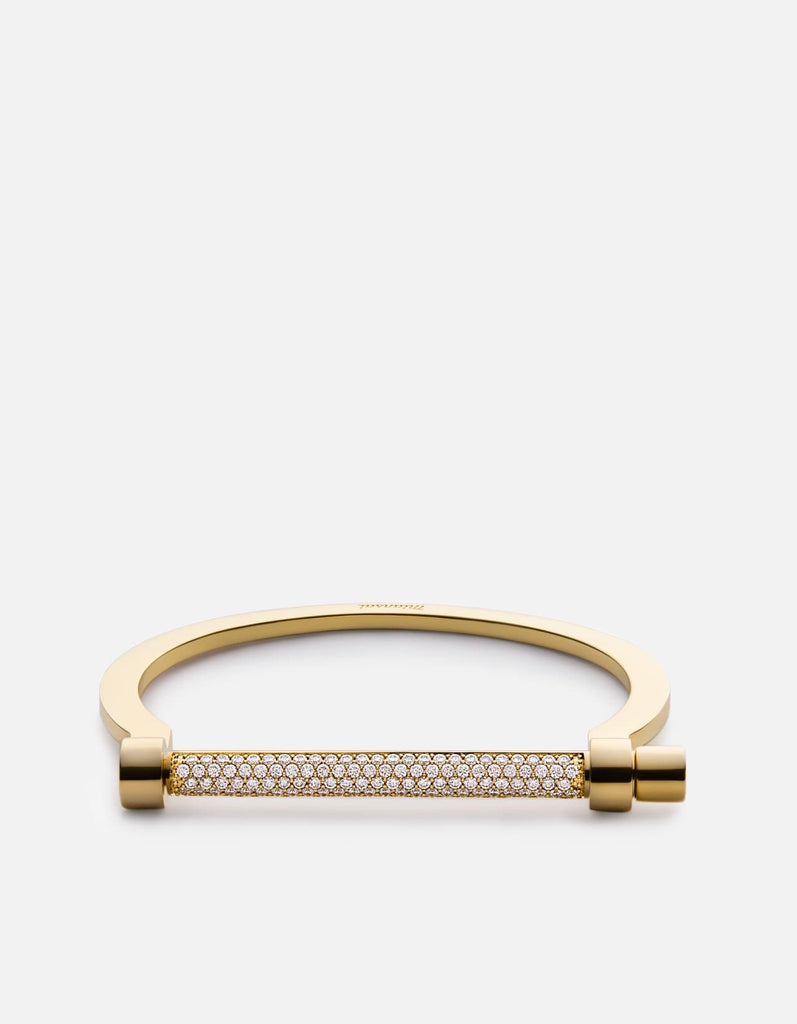 Miansai - Thin Modern Screw Cuff, 14k Gold Pavé