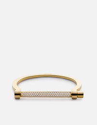 Thin Modern Screw Cuff, 14k Gold Pavé