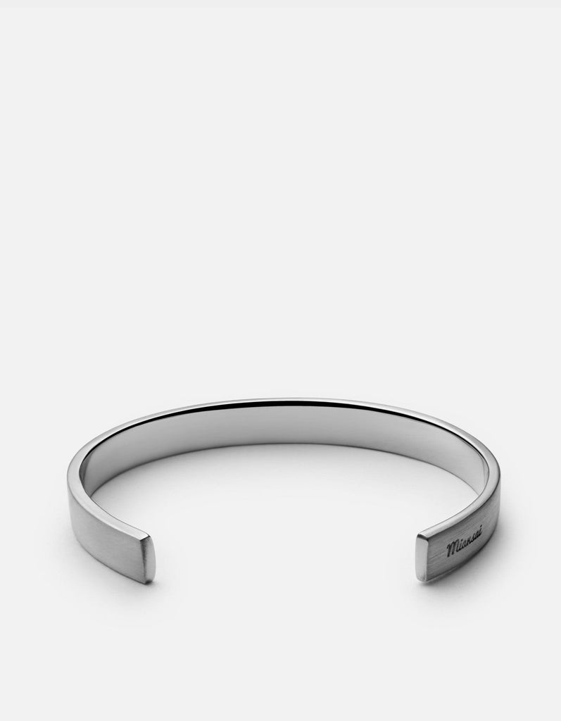 Label Cuff Bracelet, Matte Sterling Silver | Men's Cuffs | Miansai