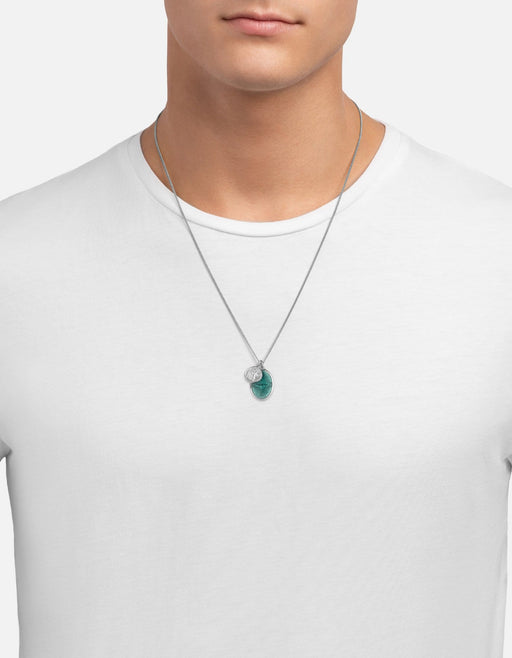 Miansai - Mini Dove Pendant Necklace, Silver/Teal