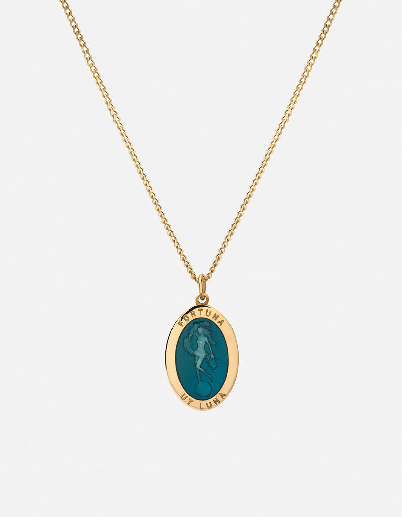 Fortuna Pendant Necklace w/Enamel, Gold Vermeil, Polished, Teal | Women's Necklaces | Miansai