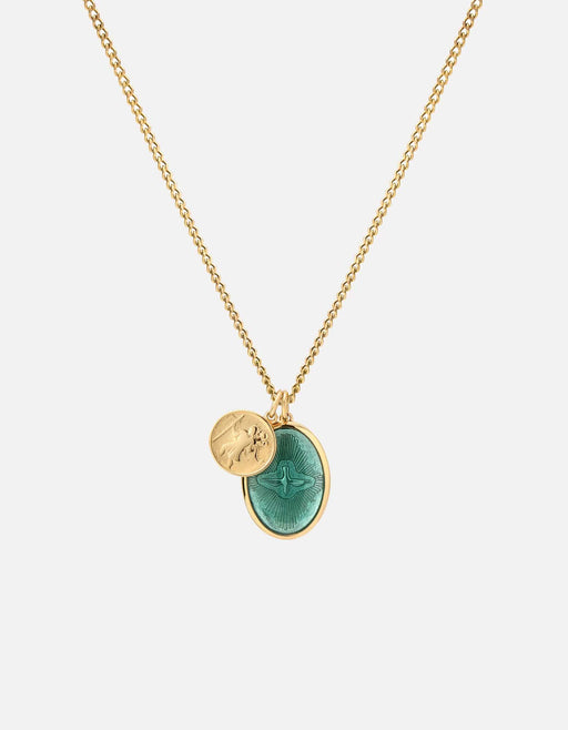 Miansai - Mini Dove Necklace, 14k Gold/Teal
