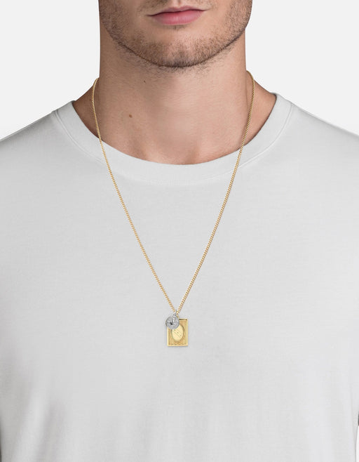 Frame Pendant Necklace, 14k Yellow Gold/Sterling Silver, Polished | Men's Necklaces | Miansai