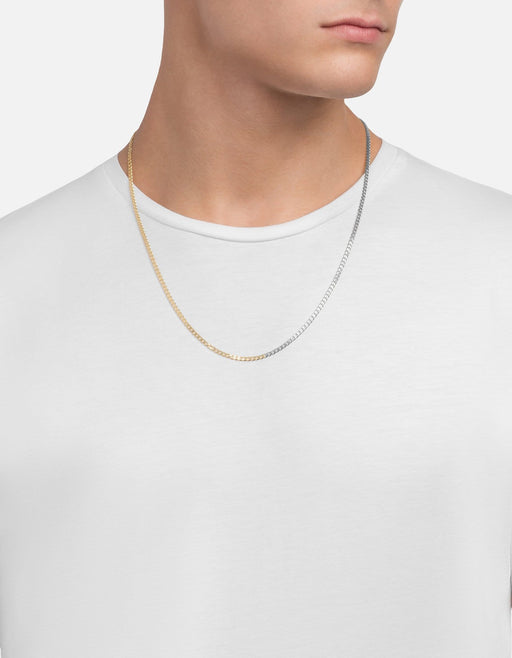 Miansai - 3mm Cuban Chain Necklace, Matte Silver/Gold