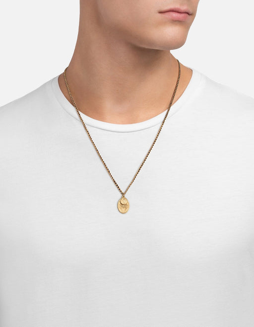 Dove Pendant 2mm Woven Chain Necklace, Navy/Matte Gold | Men's Necklaces | Miansai