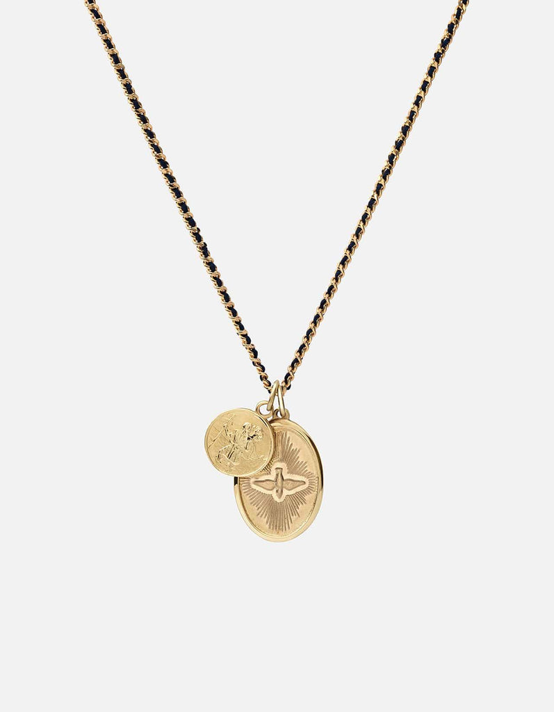 Miansai - Mini Dove Woven Chain Necklace, Gold/Navy