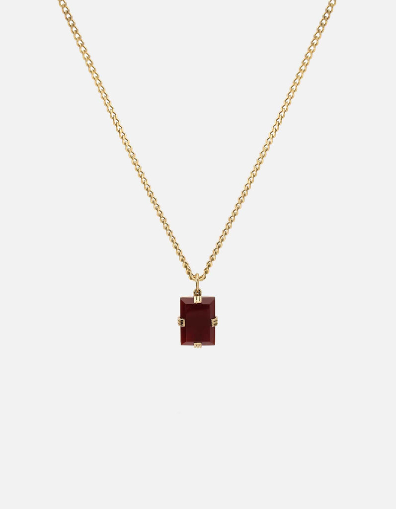 Lennox Red Agate Necklace, Gold Vermeil, Red - Miansai
