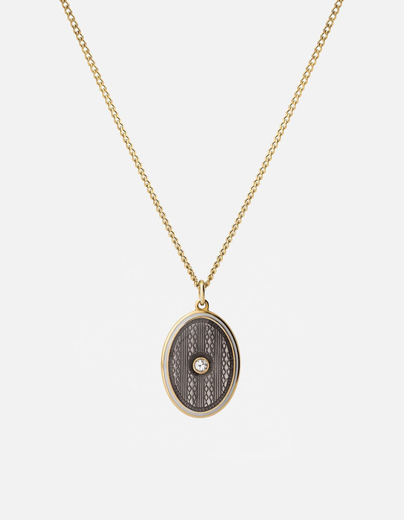 Argyle White Sapphire Pendant Necklace w/Enamel, Gold Vermeil, Polished, Gray, 21in. | Women's Necklaces | Miansai