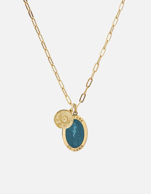 Fortuna Pendant w/Cable Chain Necklace w/ Blue Enamel, Gold Vermeil - Miansai