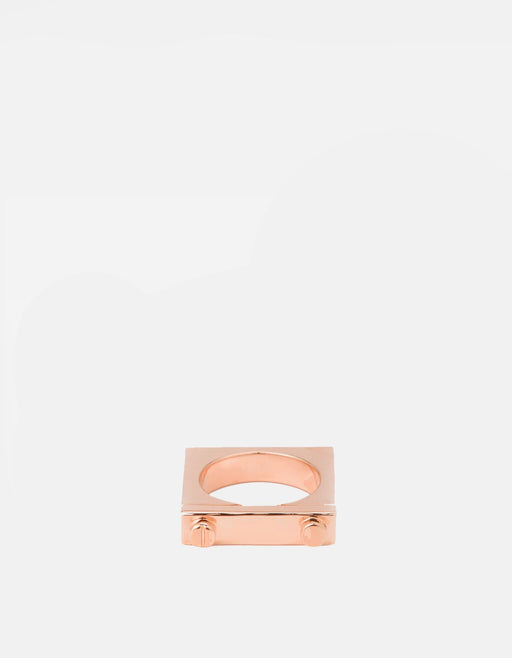 Squared Ring, Rose Plated