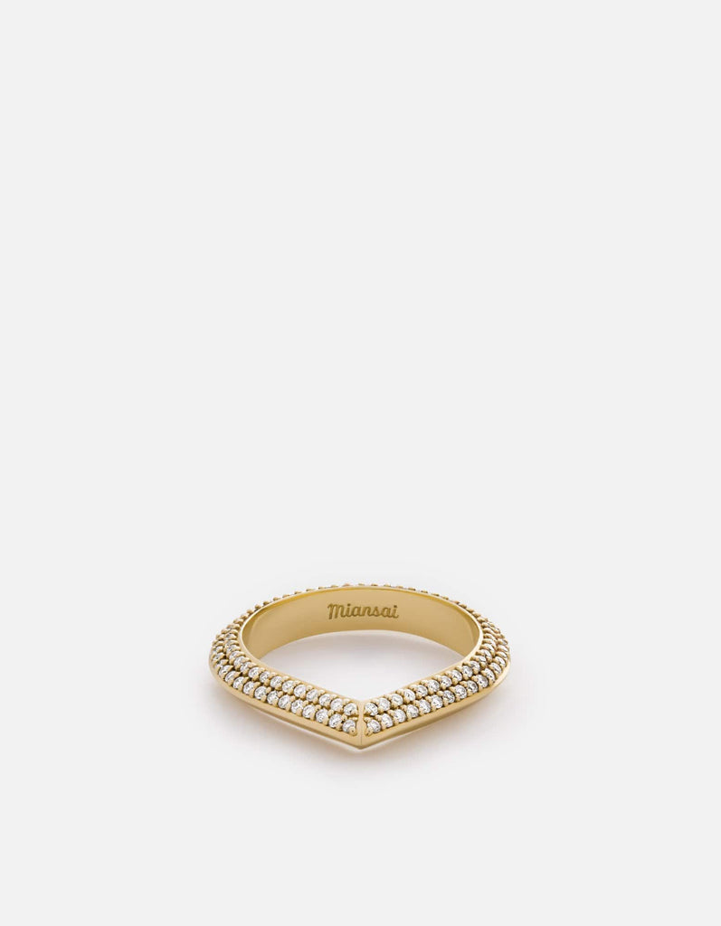 Miansai - Angular Ring, 14k Gold Pavé