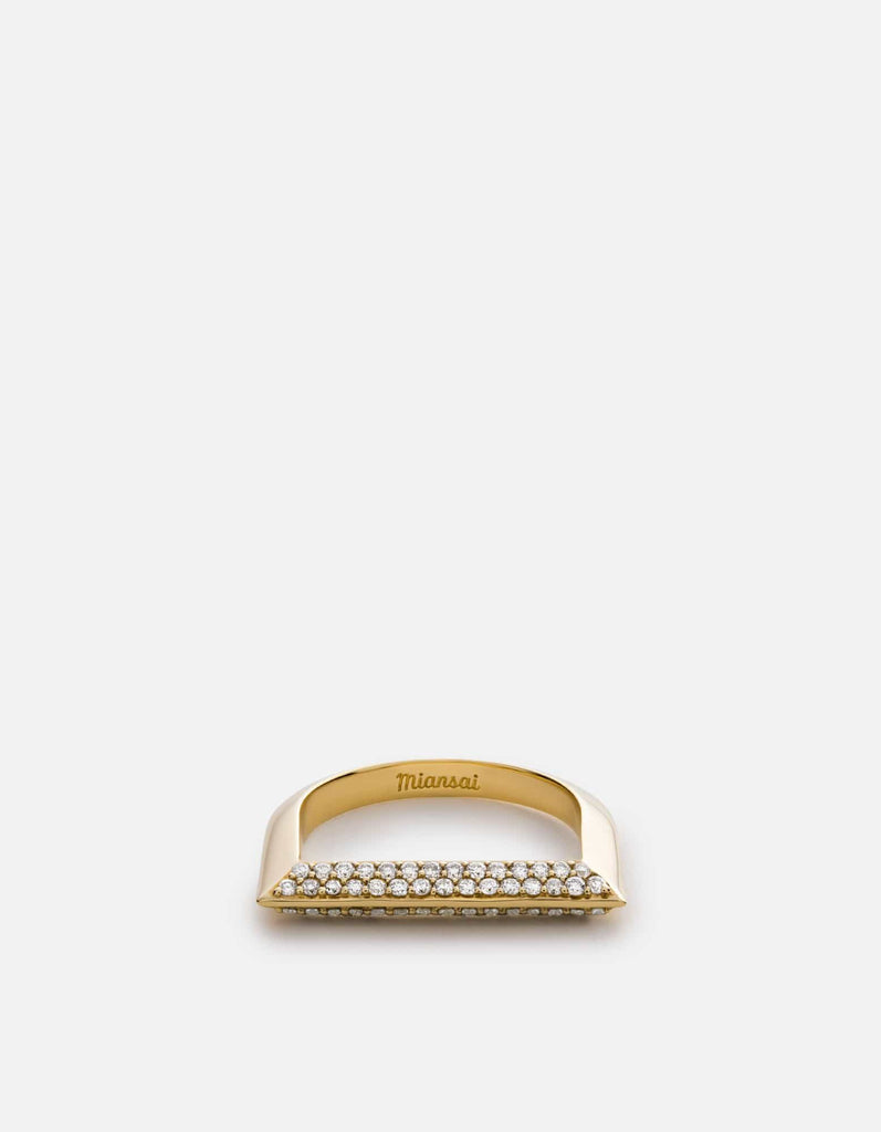 Miansai - Bar Ring, 14k Gold Pavé