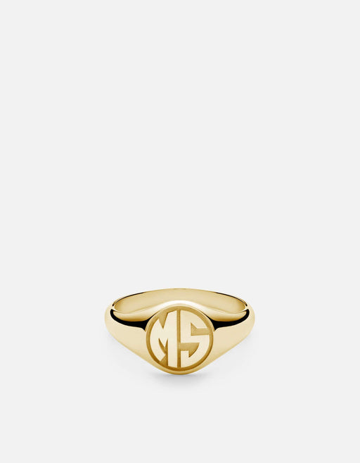 Miansai - Signet Ring, 14k Gold/ 3 Letter