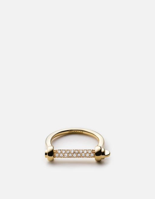 Miansai - Thin Screw Cuff Ring, Gold Vermeil/Sapphire