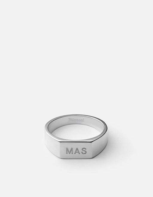 Miansai - Geo Signet Ring, Sterling Silver/3 Letters