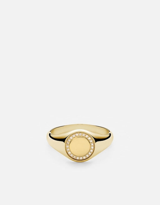 Halo Signet Ring, Gold Vermeil w/Sapphires, Polished | Women's Rings | Miansai