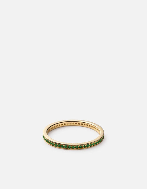 Miansai - Eclipse Band Ring, Matte 14k Gold/Emeralds