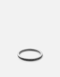 Miansai - Eclipse Band Ring, Matte Silver/Black Diamonds