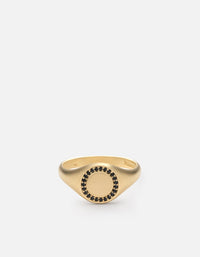 Miansai - Halo Signet Ring, 14k Matte Gold/Black Diamonds