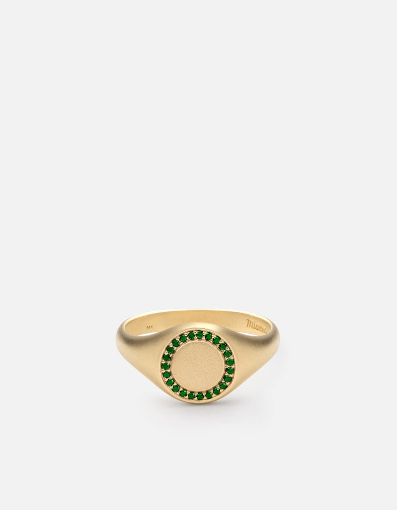 Miansai - Halo Signet Ring, 14k Matte Gold/Emeralds
