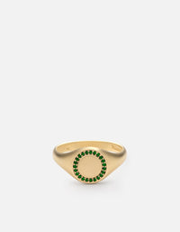 Halo Signet Ring, 14k Matte Gold/Emeralds