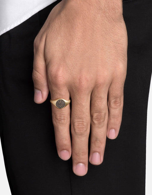 Miansai - Horizon Signet Ring, 14k Matte Gold/Black Diamonds