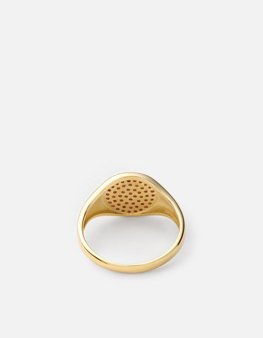 Miansai - Horizon Signet Ring, 14k Gold/Ruby