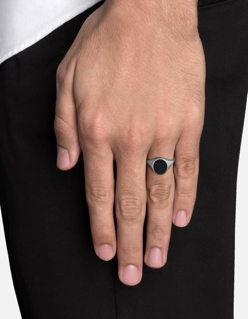 Heritage Ring w/Enamel, Sterling Silver, Polished | Men's Rings | Miansai