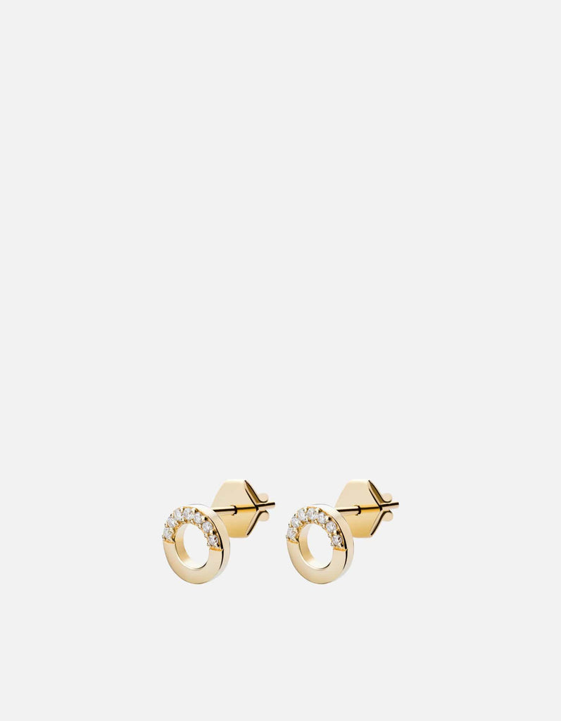Washer Studs, 14k Yellow Gold, Pave, Polished | Women's Earrings | Miansai