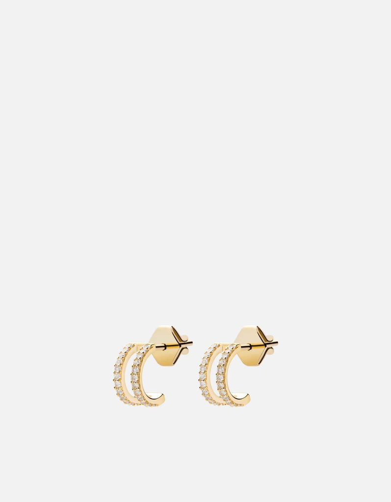Miansai - Split Layer Earrings, Gold Vermeil/Sapphire